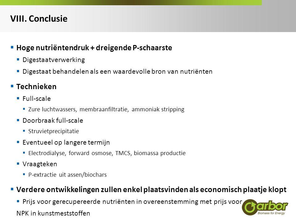 VIII. Conclusie Hoge nutriëntendruk + dreigende P-schaarste Technieken