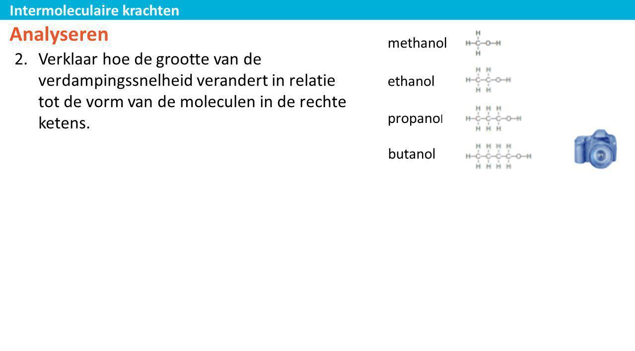 Analyseren methanol. Verklaar hoe de grootte van de verdampingssnelheid verandert in relatie tot de vorm van de moleculen in de rechte ketens.