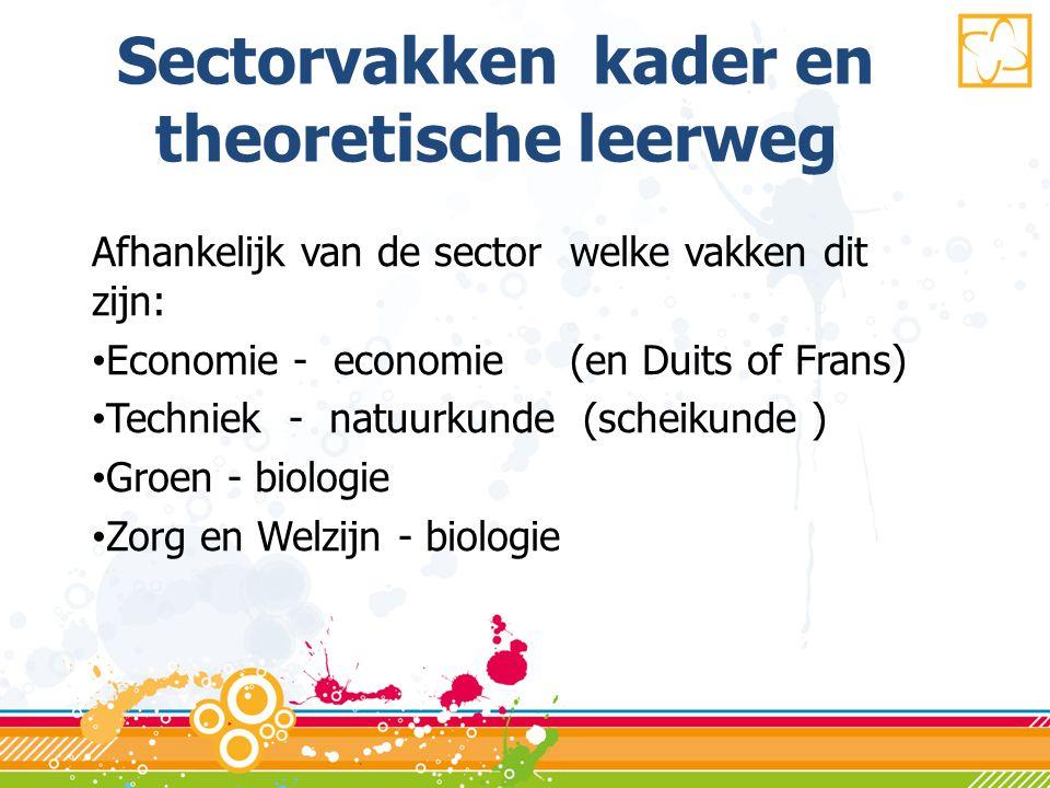 Sectorvakken kader en theoretische leerweg