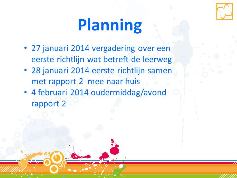 Planning 27 januari 2014 vergadering over een eerste richtlijn wat betreft de leerweg.