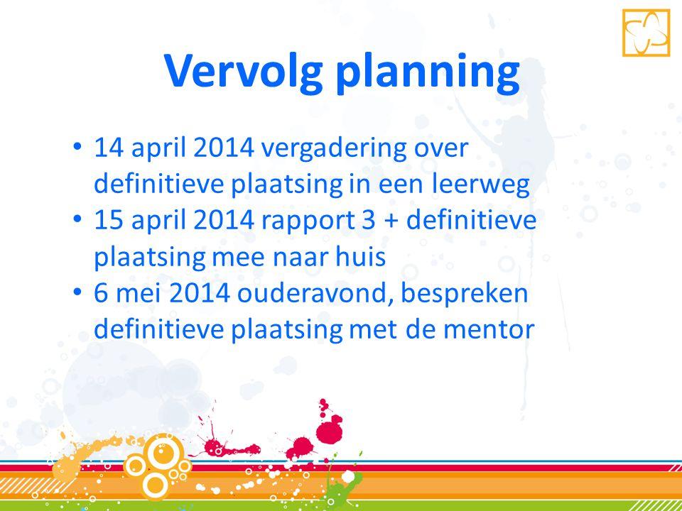 Vervolg planning 14 april 2014 vergadering over definitieve plaatsing in een leerweg. 15 april 2014 rapport 3 + definitieve plaatsing mee naar huis.