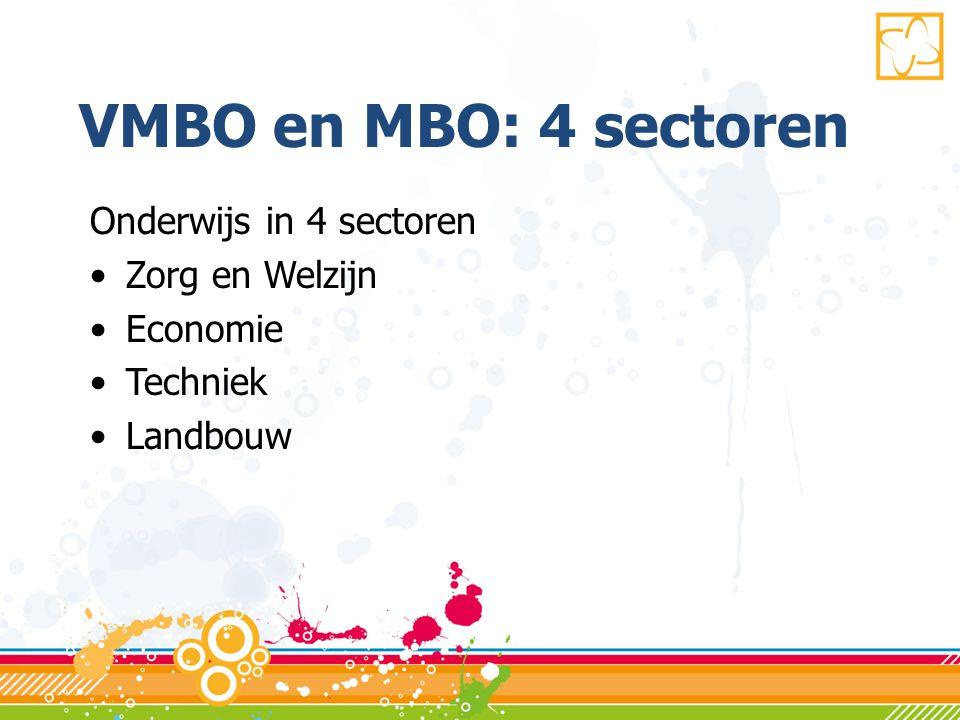 VMBO en MBO: 4 sectoren Onderwijs in 4 sectoren Zorg en Welzijn