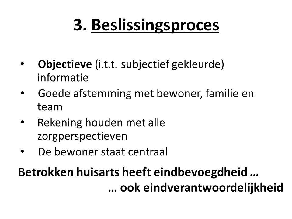 3. Beslissingsproces Betrokken huisarts heeft eindbevoegdheid …