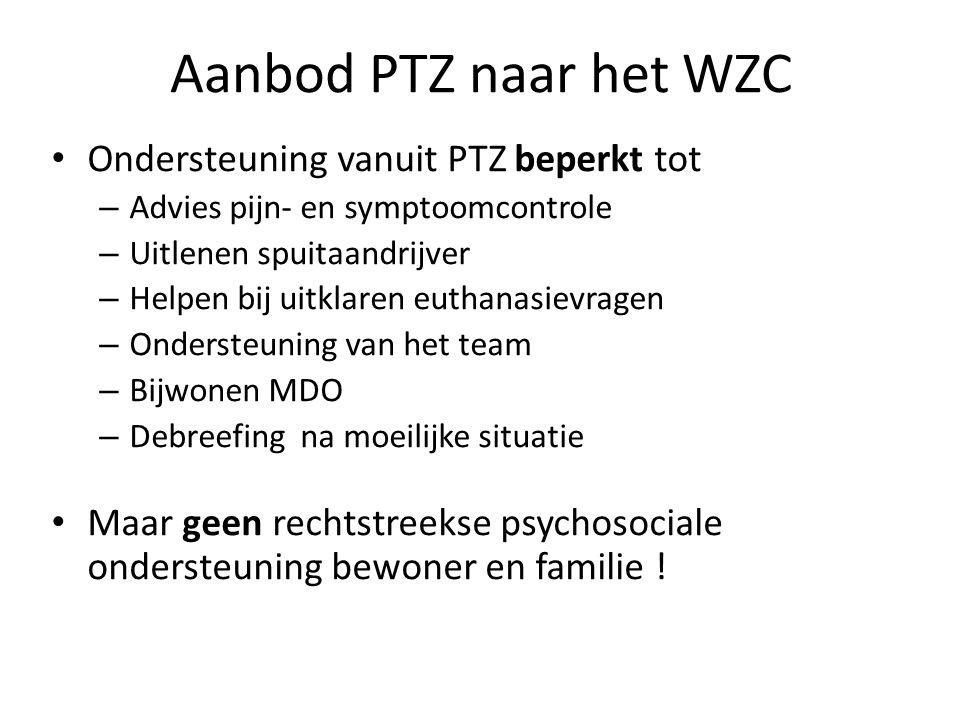 Aanbod PTZ naar het WZC Ondersteuning vanuit PTZ beperkt tot