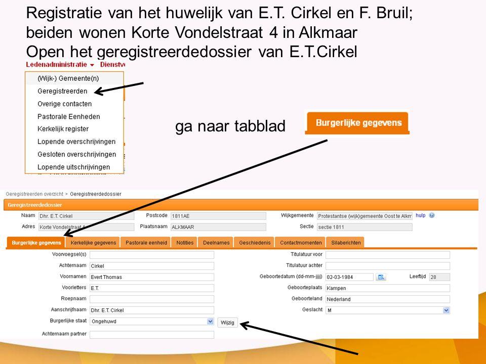 Registratie van het huwelijk van E. T. Cirkel en F