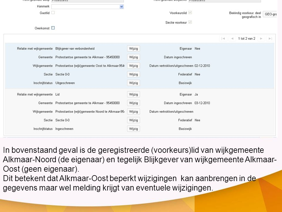 In bovenstaand geval is de geregistreerde (voorkeurs)lid van wijkgemeente Alkmaar-Noord (de eigenaar) en tegelijk Blijkgever van wijkgemeente Alkmaar-Oost (geen eigenaar).