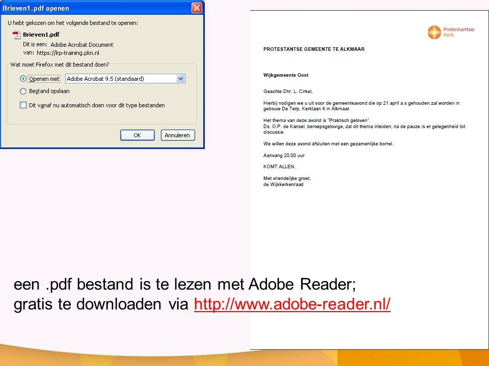 een .pdf bestand is te lezen met Adobe Reader;