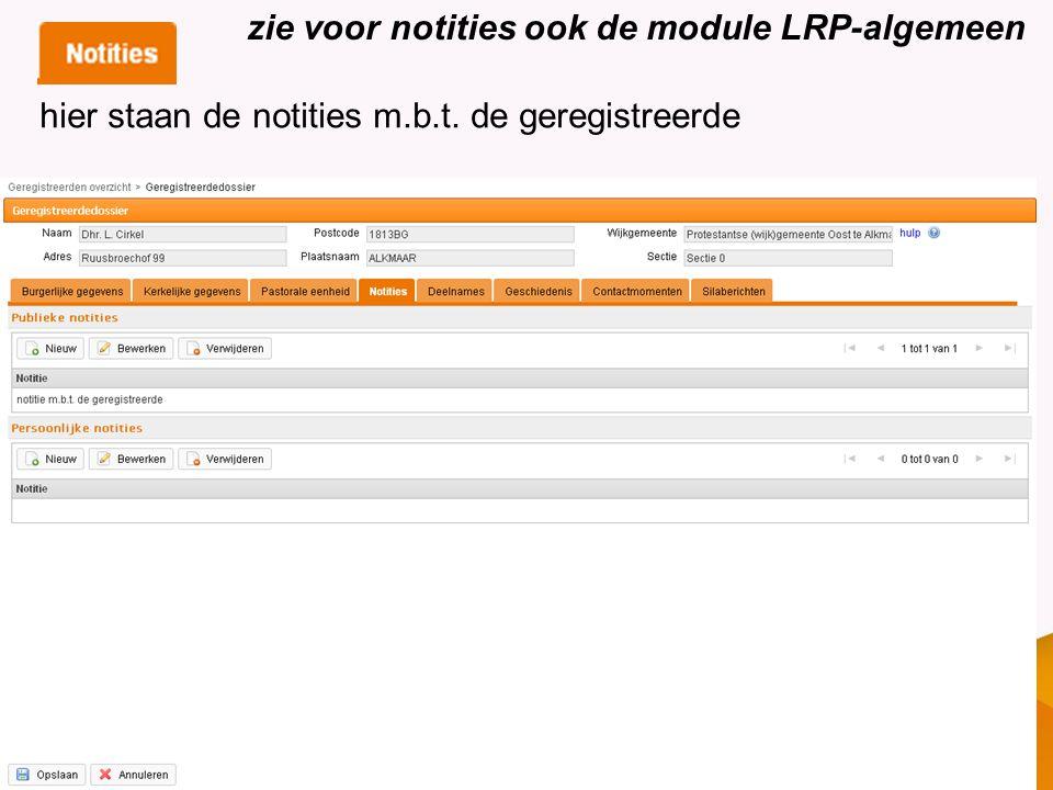 zie voor notities ook de module LRP-algemeen