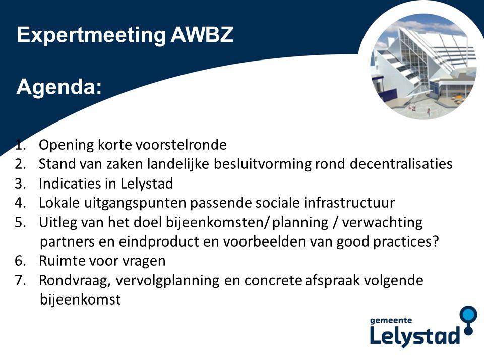 Expertmeeting AWBZ Agenda: Opening korte voorstelronde