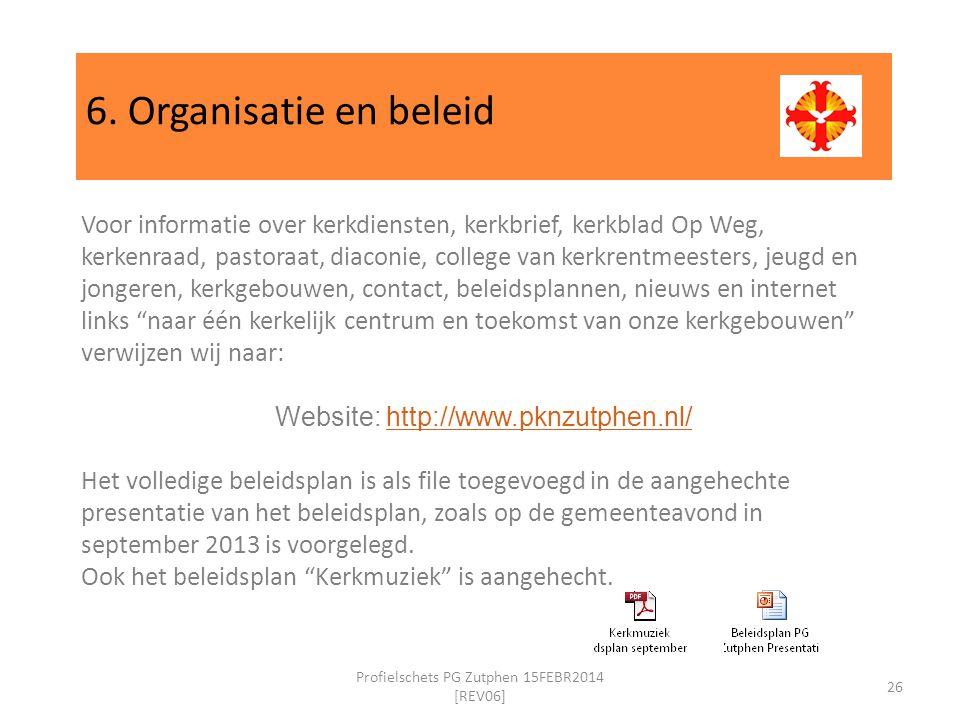 6. Organisatie en beleid