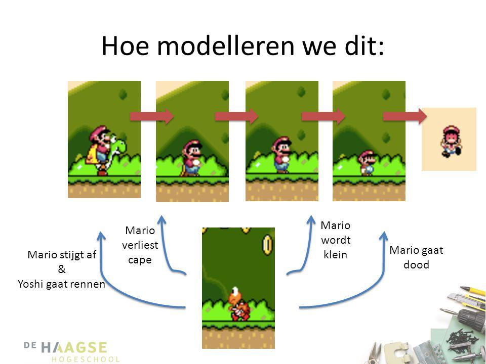 Hoe modelleren we dit: Mario wordt klein Mario verliest cape