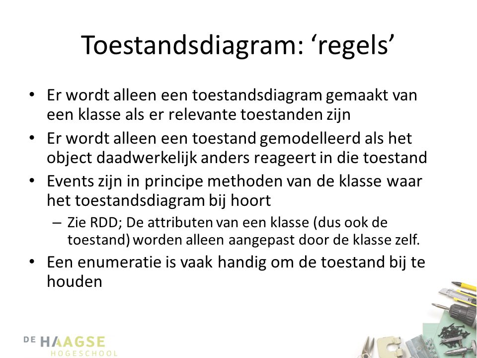 Toestandsdiagram: 'regels'