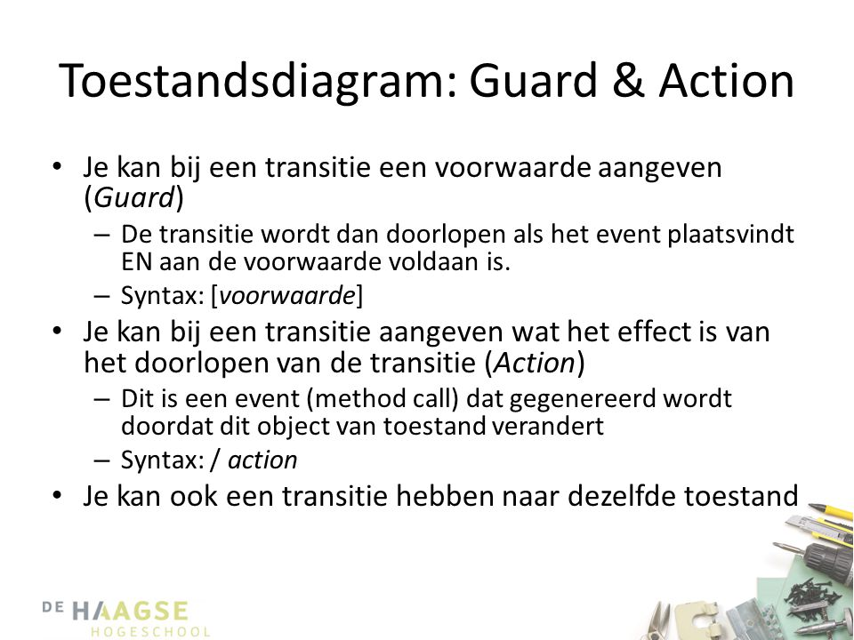 Toestandsdiagram: Guard & Action