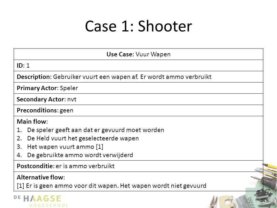 Case 1: Shooter Use Case: Vuur Wapen ID: 1