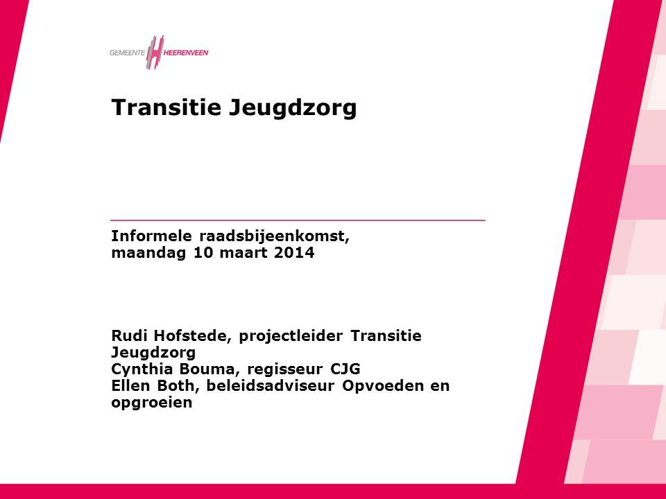Transitie Jeugdzorg Informele raadsbijeenkomst, maandag 10 maart 2014