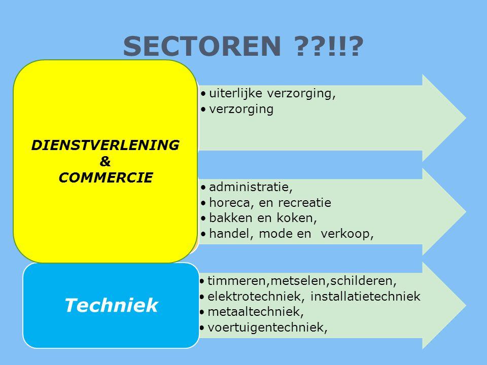 SECTOREN !! Zorg & Welzijn Economie Techniek DIENSTVERLENING