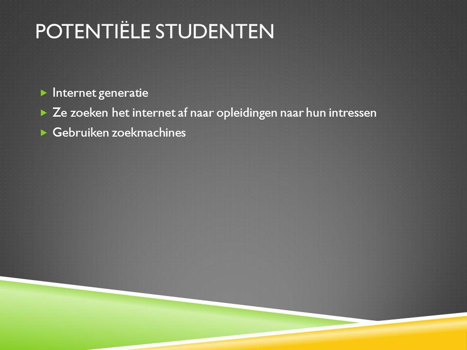 Potentiële studenten Internet generatie