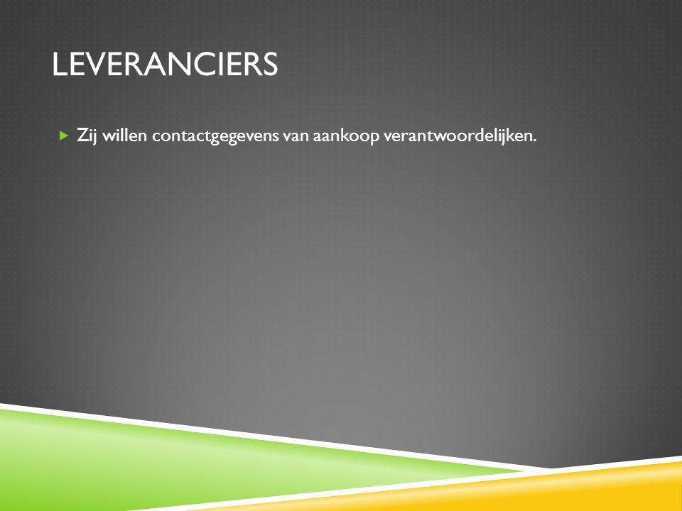 Leveranciers Zij willen contactgegevens van aankoop verantwoordelijken.
