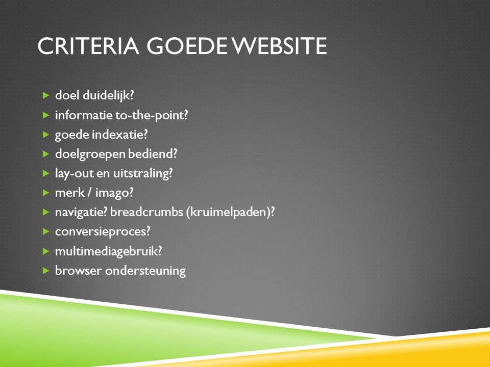 Criteria goede Website