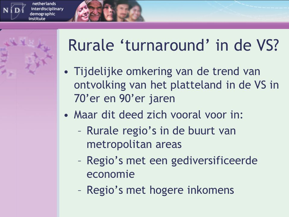 Rurale 'turnaround' in de VS