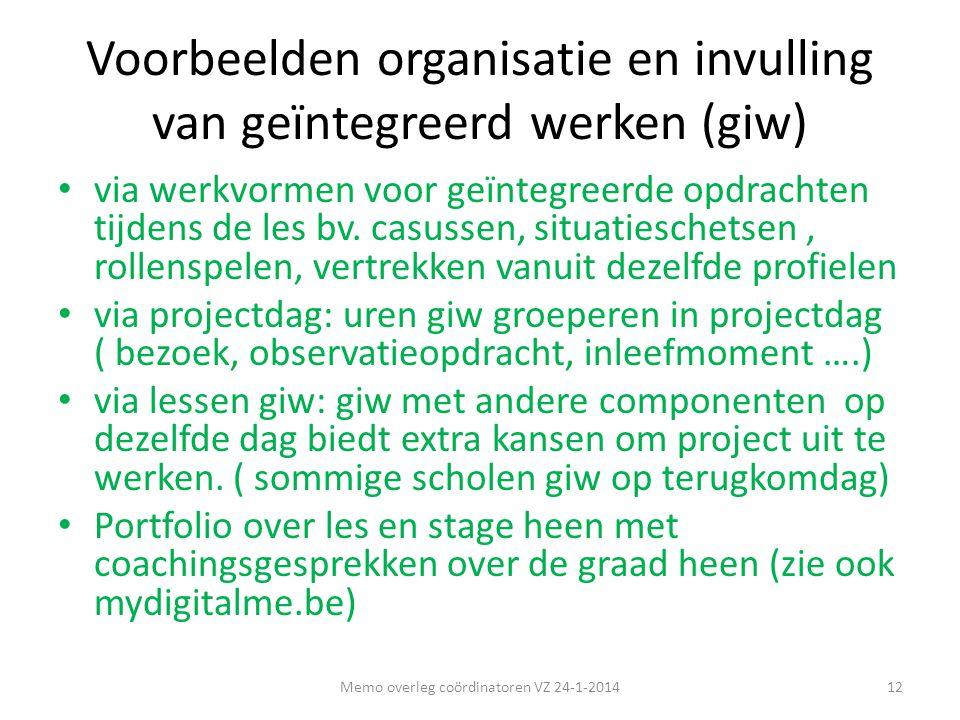 Voorbeelden organisatie en invulling van geïntegreerd werken (giw)
