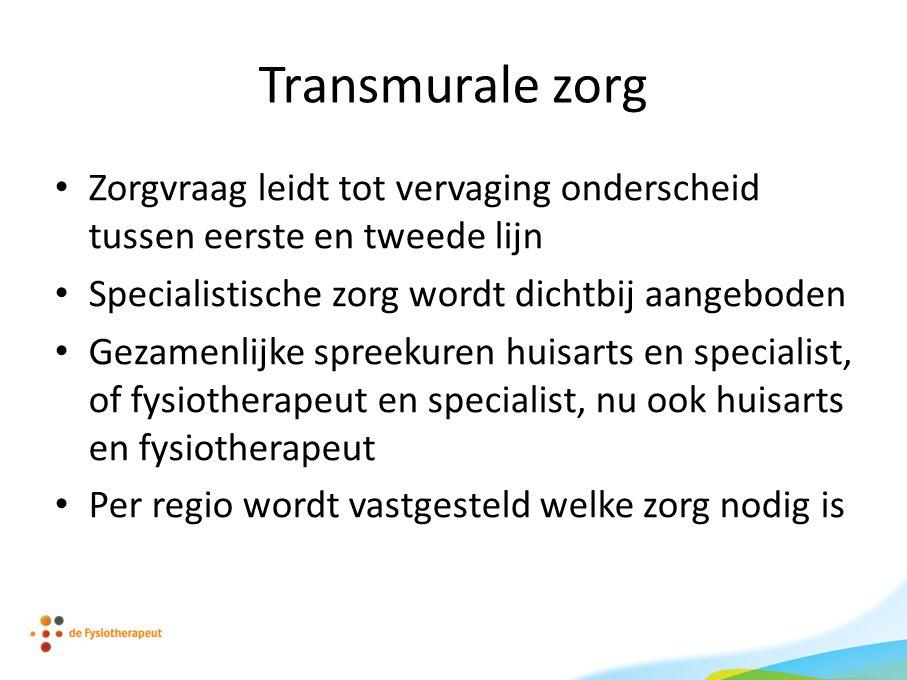 Transmurale zorg Zorgvraag leidt tot vervaging onderscheid tussen eerste en tweede lijn. Specialistische zorg wordt dichtbij aangeboden.