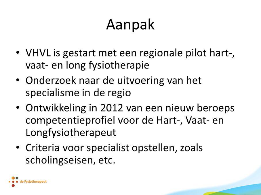 Aanpak VHVL is gestart met een regionale pilot hart-, vaat- en long fysiotherapie. Onderzoek naar de uitvoering van het specialisme in de regio.
