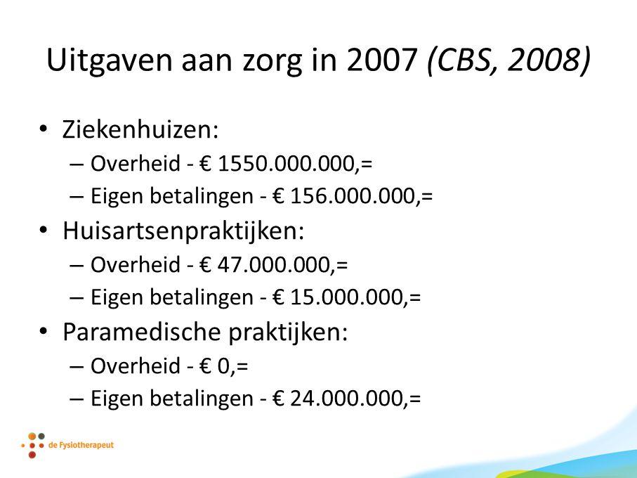 Uitgaven aan zorg in 2007 (CBS, 2008)