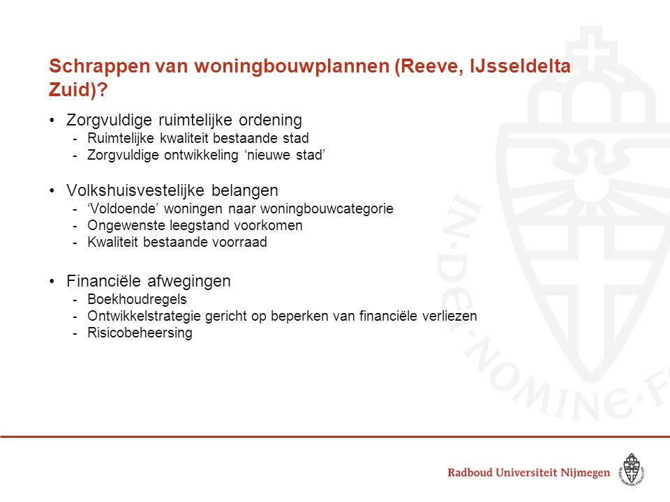 Schrappen van woningbouwplannen (Reeve, IJsseldelta Zuid)