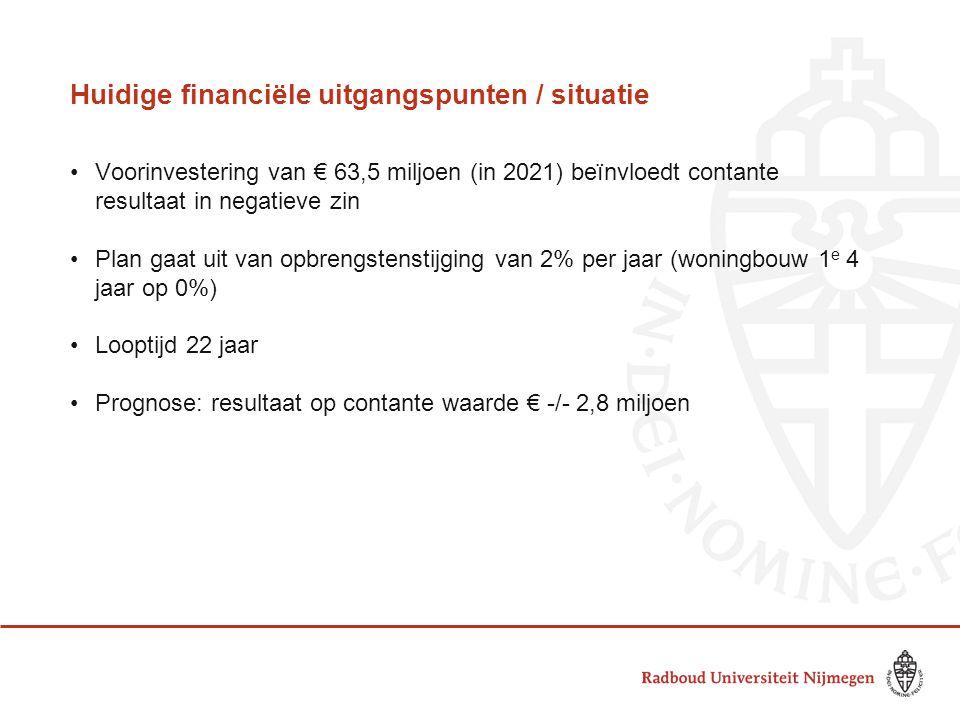 Huidige financiële uitgangspunten / situatie