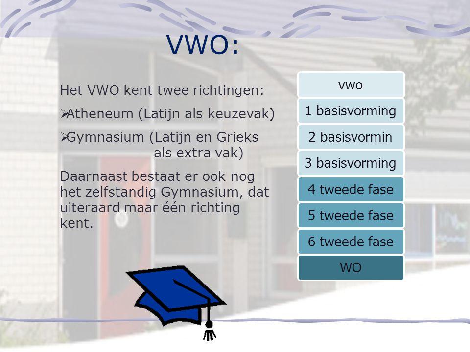 VWO: vwo 1 basisvorming 2 basisvormin 3 basisvorming 4 tweede fase