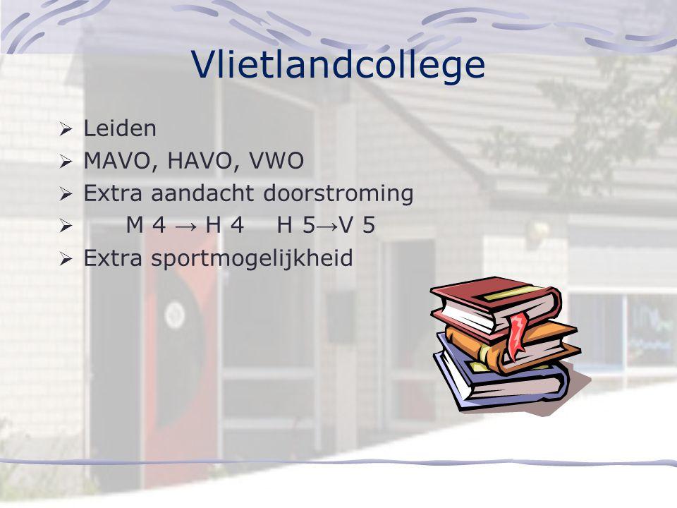 Vlietlandcollege Leiden MAVO, HAVO, VWO Extra aandacht doorstroming
