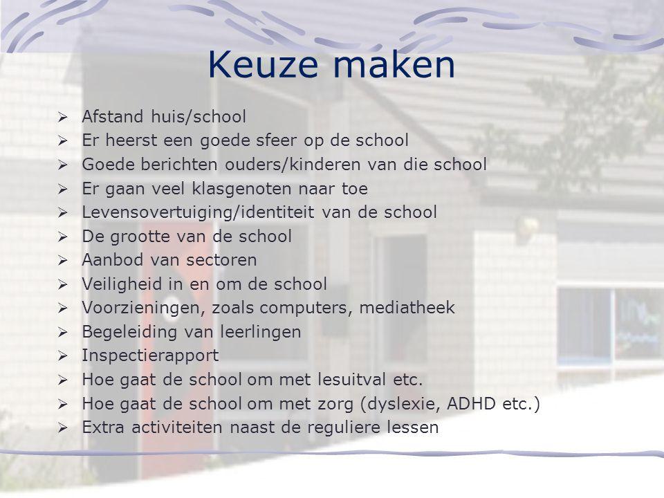Keuze maken Afstand huis/school Er heerst een goede sfeer op de school