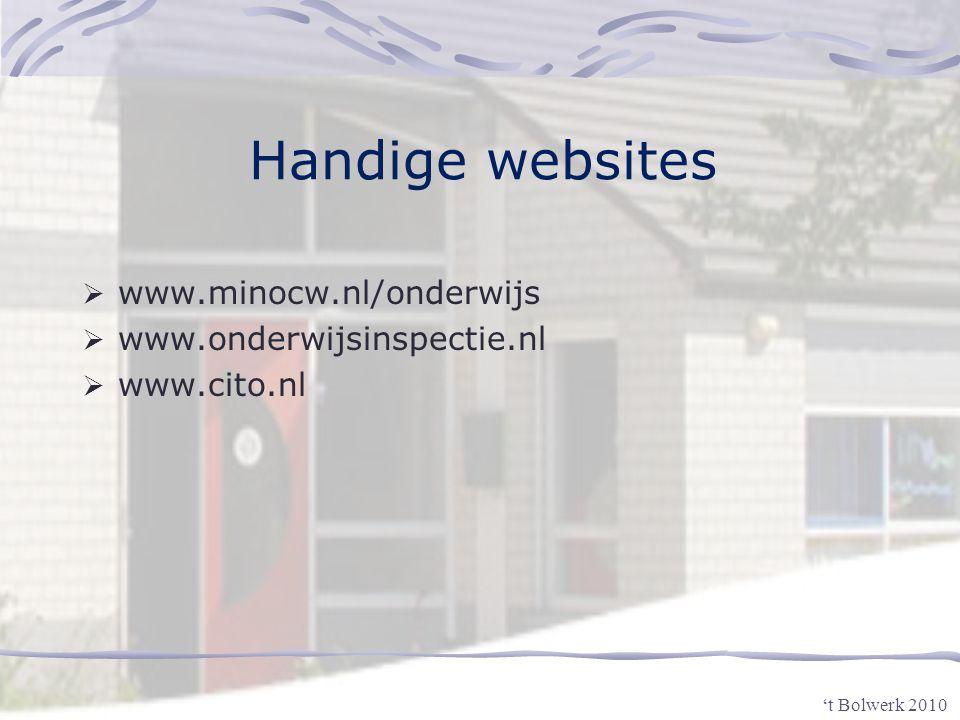 Handige websites www.minocw.nl/onderwijs www.onderwijsinspectie.nl