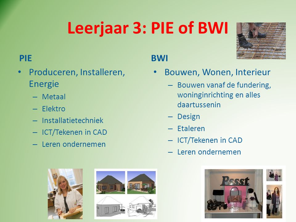 Leerjaar 3: PIE of BWI PIE BWI Produceren, Installeren, Energie