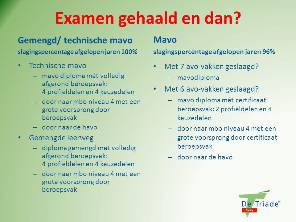 Examen gehaald en dan Gemengd/ technische mavo Mavo Technische mavo
