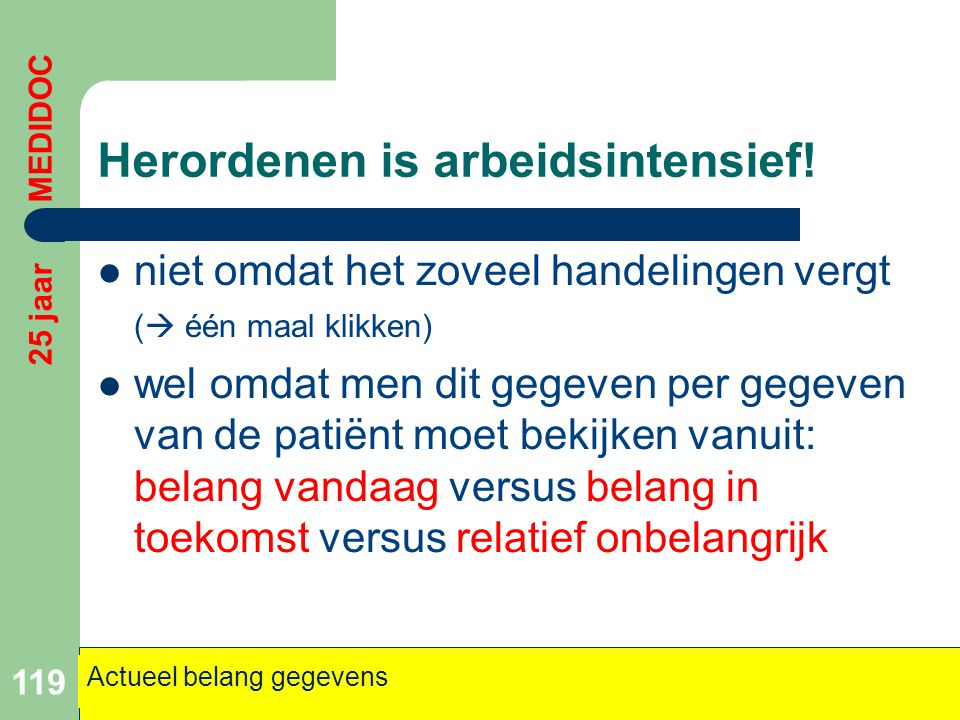 Herordenen is arbeidsintensief!