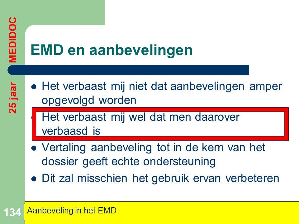 EMD en aanbevelingen 25 jaar MEDIDOC. Het verbaast mij niet dat aanbevelingen amper opgevolgd worden.