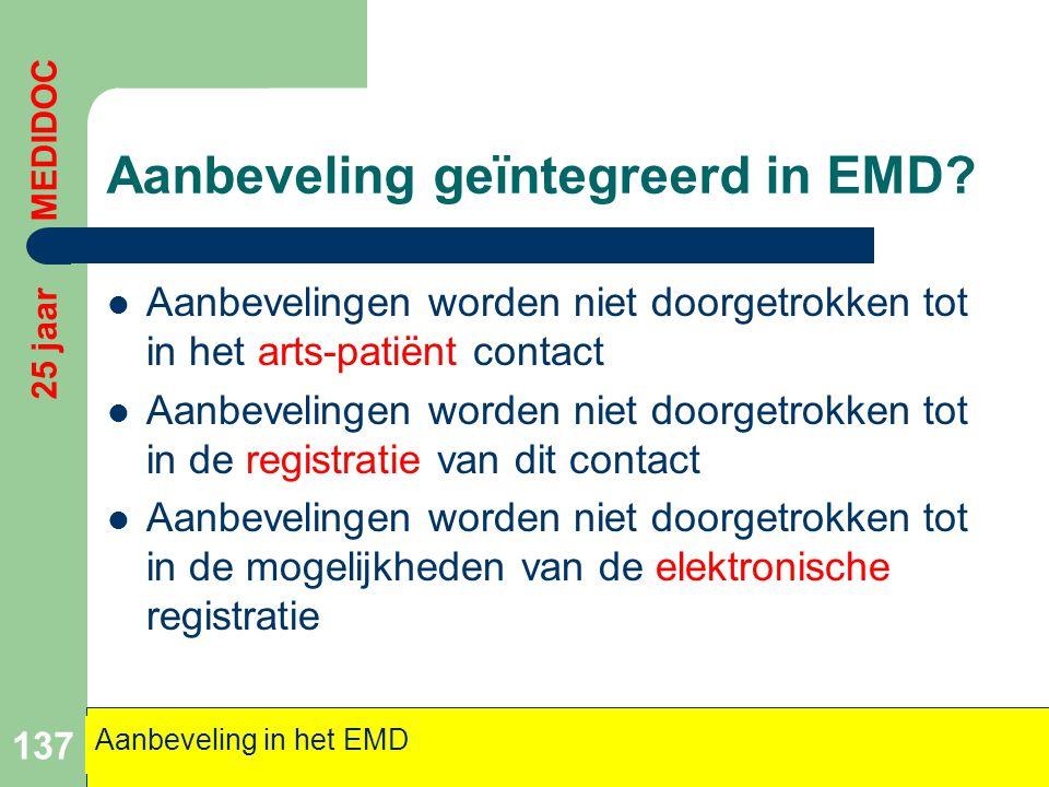 Aanbeveling geïntegreerd in EMD