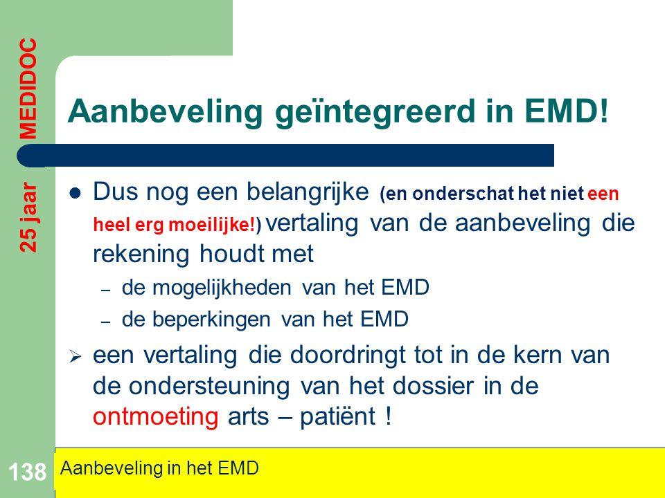 Aanbeveling geïntegreerd in EMD!