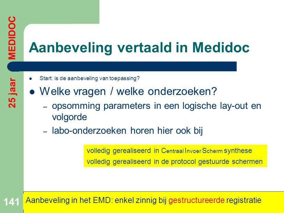 Aanbeveling vertaald in Medidoc