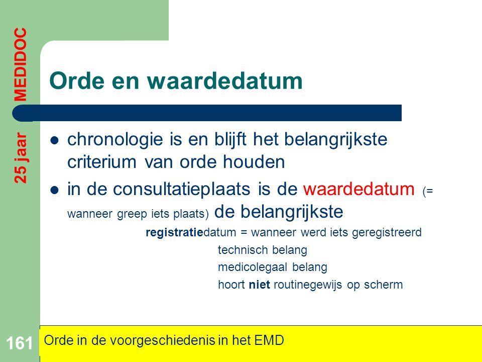 Orde en waardedatum 25 jaar MEDIDOC. chronologie is en blijft het belangrijkste criterium van orde houden.