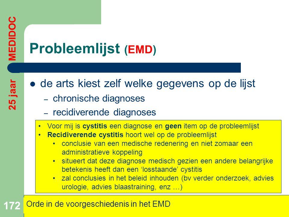 Probleemlijst (EMD) de arts kiest zelf welke gegevens op de lijst