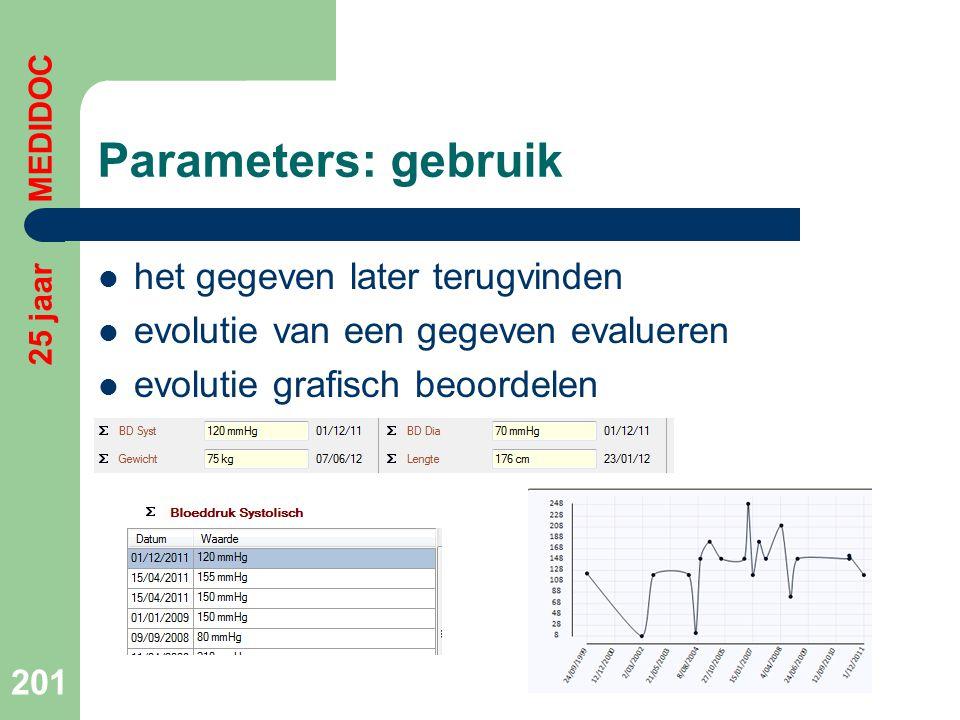 Parameters: gebruik het gegeven later terugvinden