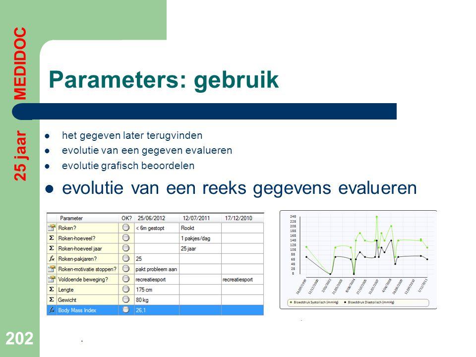 Parameters: gebruik evolutie van een reeks gegevens evalueren