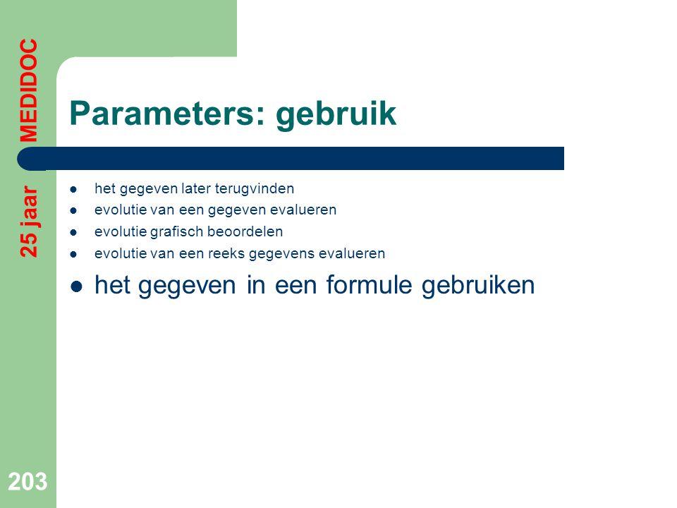 Parameters: gebruik het gegeven in een formule gebruiken