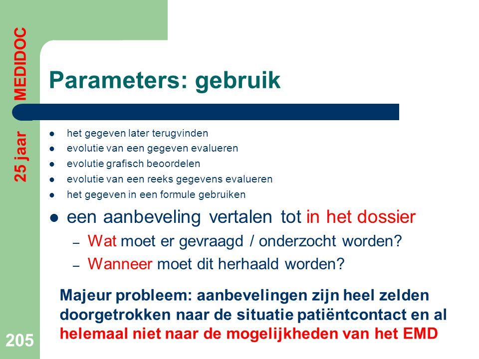 Parameters: gebruik een aanbeveling vertalen tot in het dossier