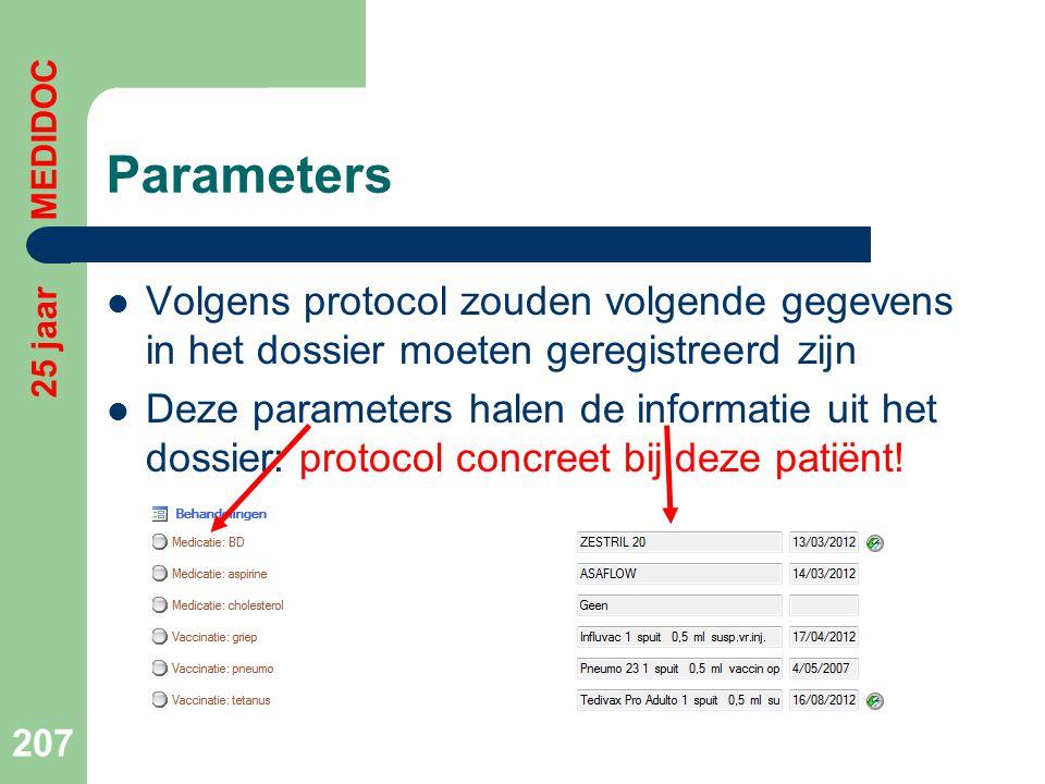 Parameters 25 jaar MEDIDOC. Volgens protocol zouden volgende gegevens in het dossier moeten geregistreerd zijn.