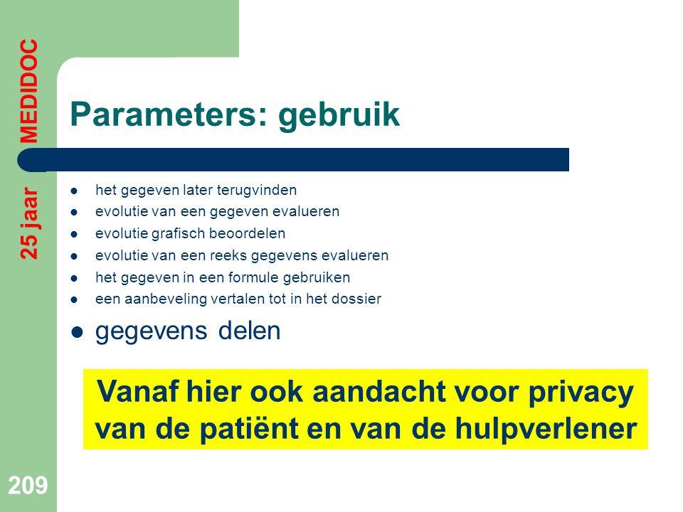 Parameters: gebruik 25 jaar MEDIDOC. het gegeven later terugvinden. evolutie van een gegeven evalueren.