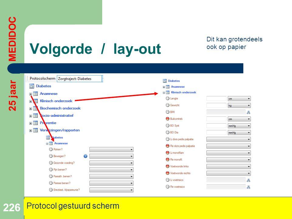 Volgorde / lay-out 25 jaar MEDIDOC Protocol gestuurd scherm